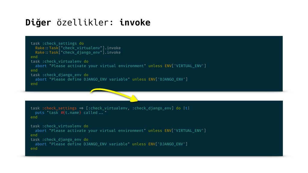 Diğer özellikler: invoke task :check_settings d...