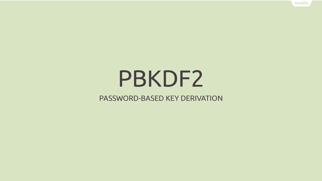 PBKDF2 PASSWORD-BASED KEY DERIVATION