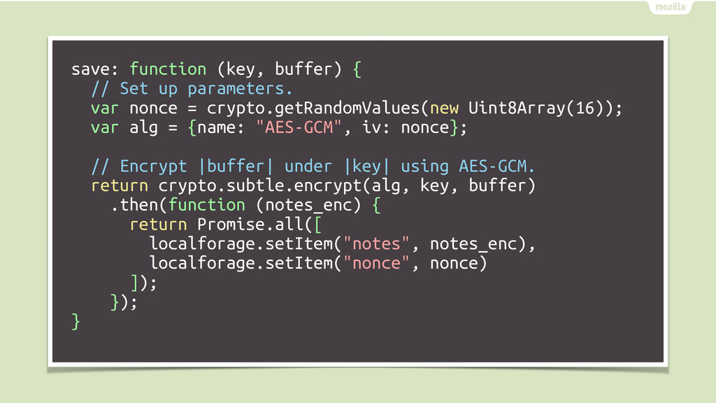 save: function (key, buffer) { // Set up parame...