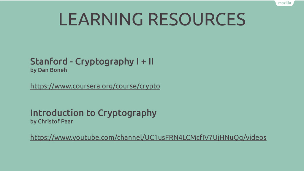 Stanford - Cryptography I + II by Dan Boneh htt...