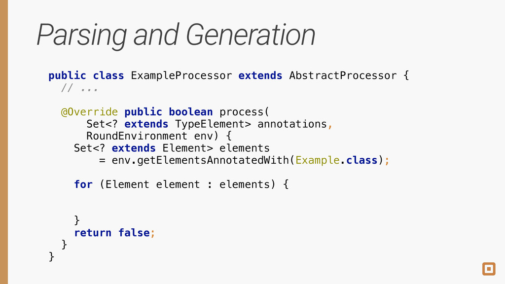 Parsing and Generation public class ExampleProc...