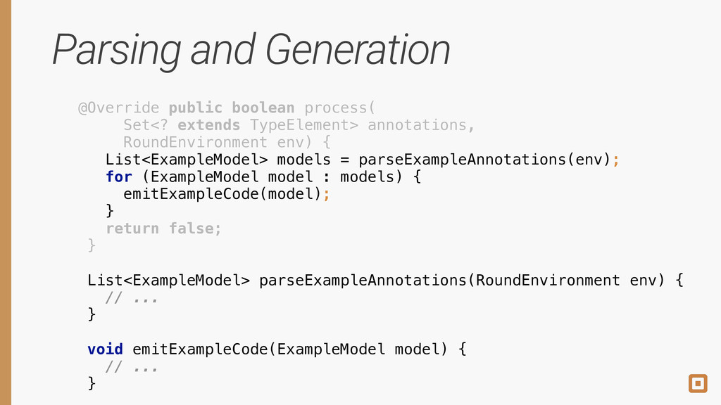 Parsing and Generation @Override public boolean...