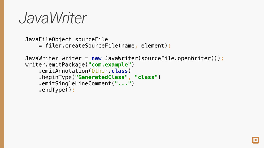 JavaWriter JavaFileObject sourceFile = filer.cr...