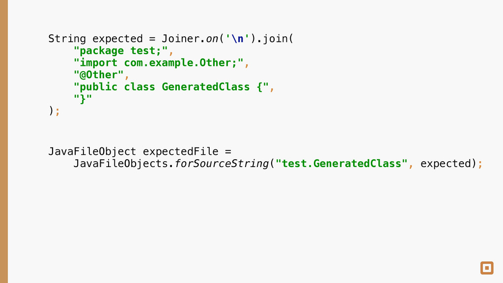 """String expected = Joiner.on('\n').join( """"packa..."""