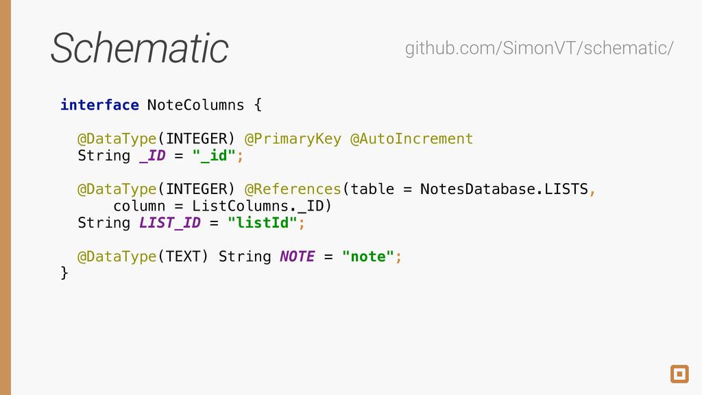 Schematic interface NoteColumns {  @DataType(...