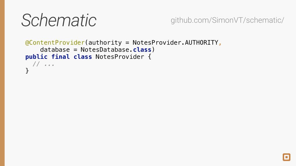 Schematic @ContentProvider(authority = NotesPro...