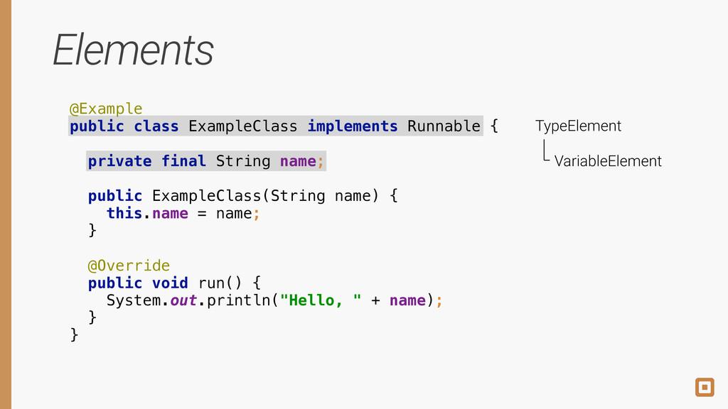 Elements @Example public class ExampleClass im...