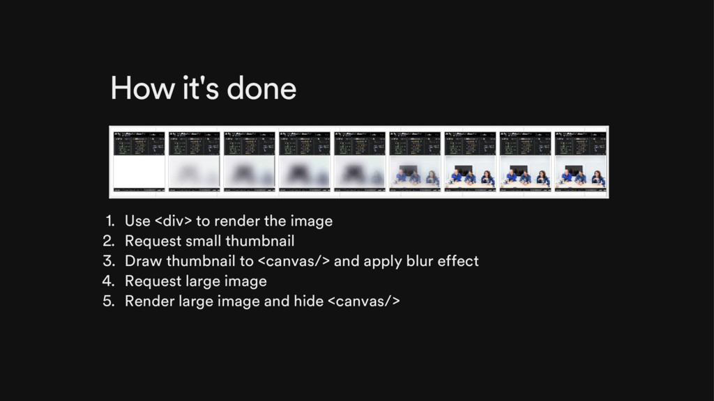 How it's done 1. Use <div> to render the image ...
