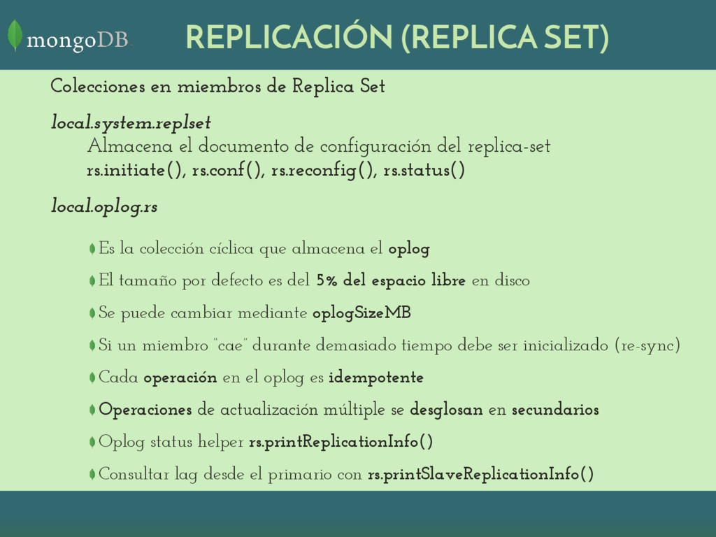 REPLICACIÓN (REPLICA SET) Colecciones en miembr...