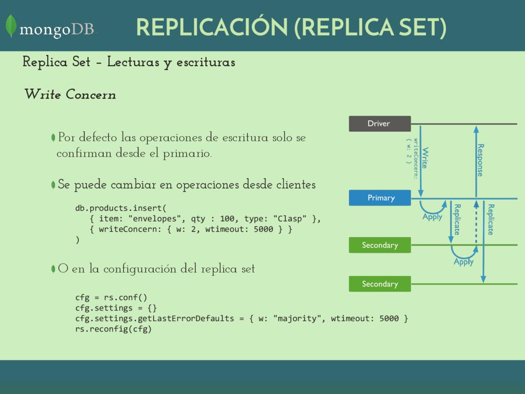 REPLICACIÓN (REPLICA SET) Replica Set – Lectura...