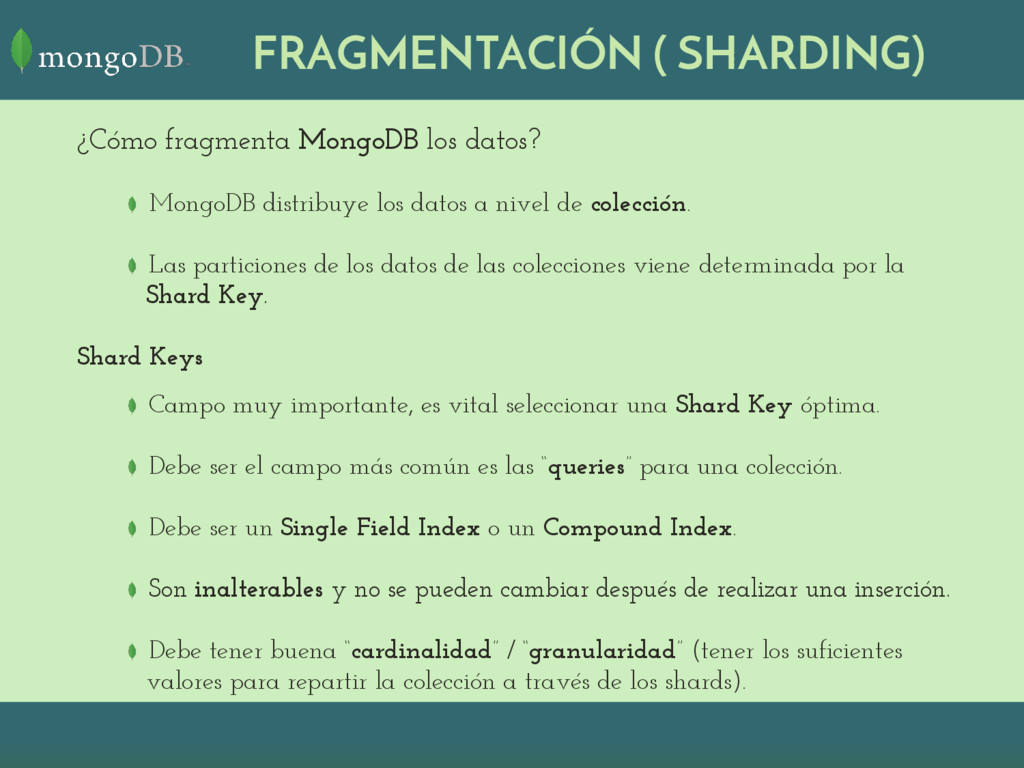 ¿Cómo fragmenta MongoDB los datos? MongoDB dist...