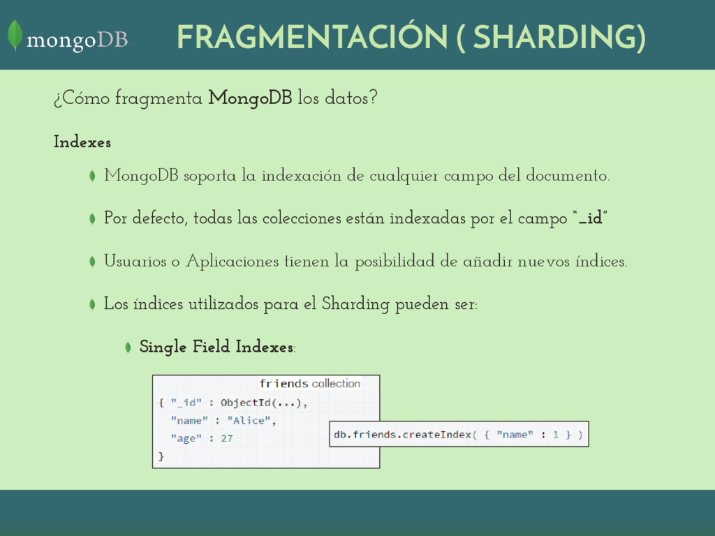 ¿Cómo fragmenta MongoDB los datos? Indexes Mong...