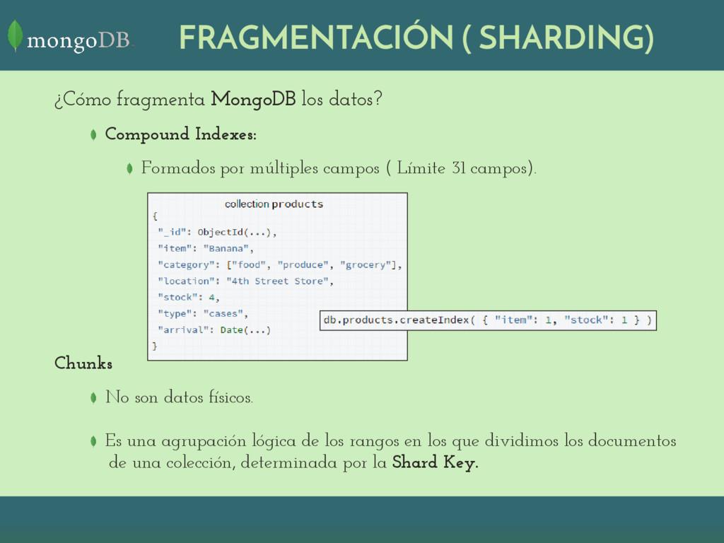 ¿Cómo fragmenta MongoDB los datos? Compound Ind...