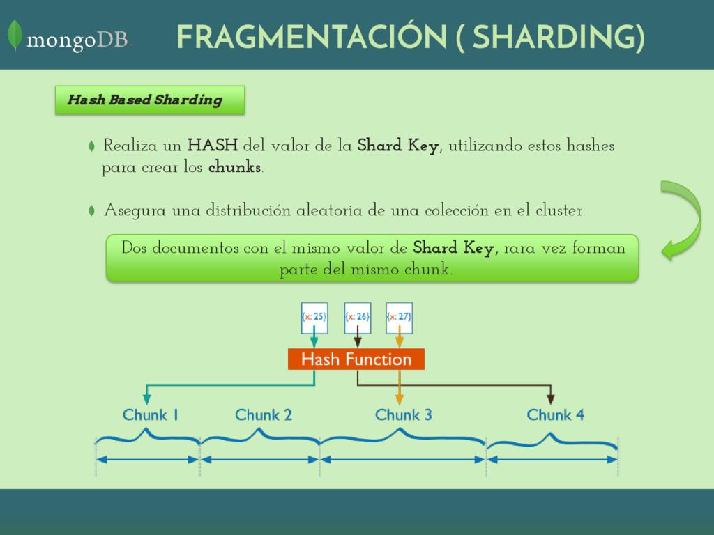 Realiza un HASH del valor de la Shard Key, util...