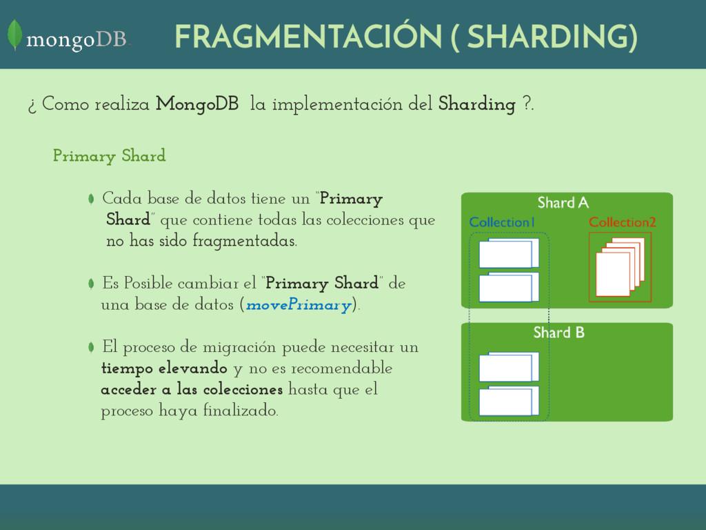 """Primary Shard Cada base de datos tiene un """"Prim..."""