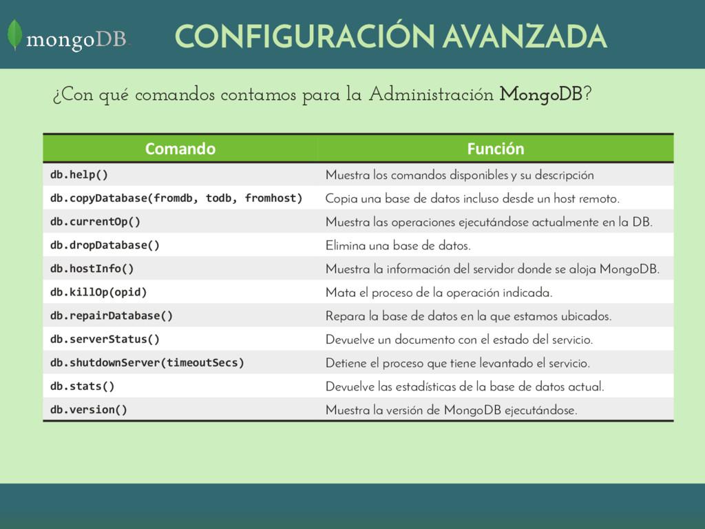 CONFIGURACIÓN AVANZADA ¿Con qué comandos contam...
