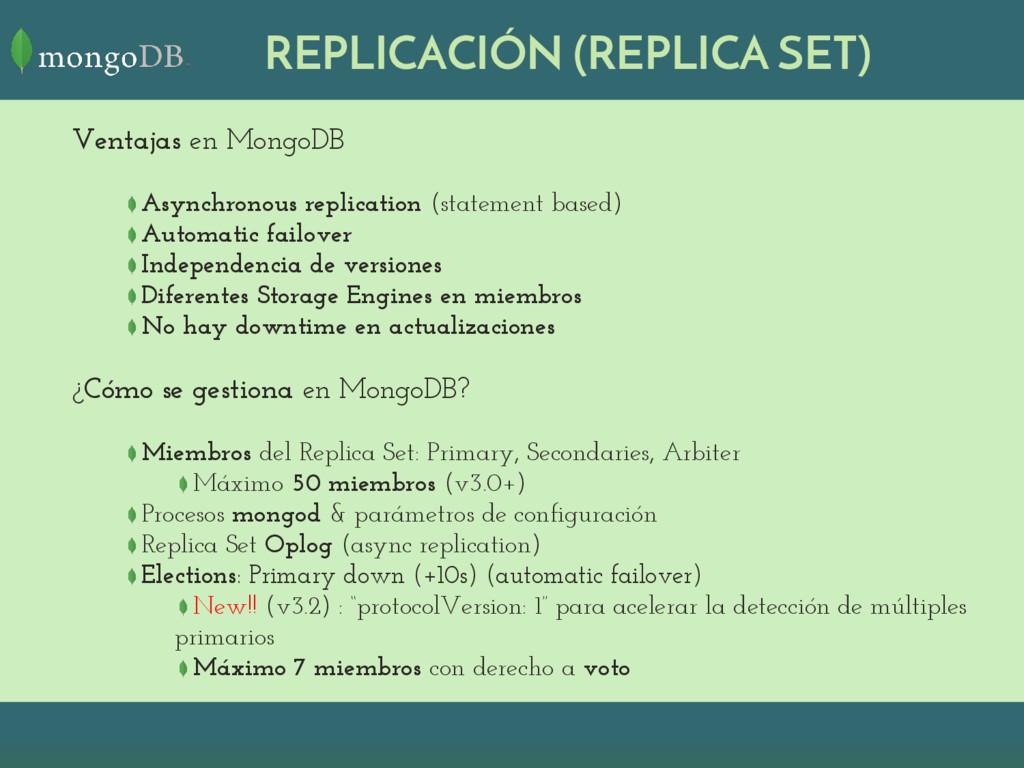 REPLICACIÓN (REPLICA SET) Ventajas en MongoDB A...