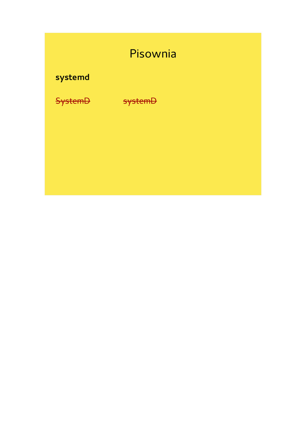 Pisownia systemd SystemD systemD