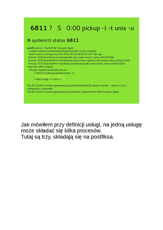 6811 ? S 0:00 pickup -l -t unix -u # systemctl ...