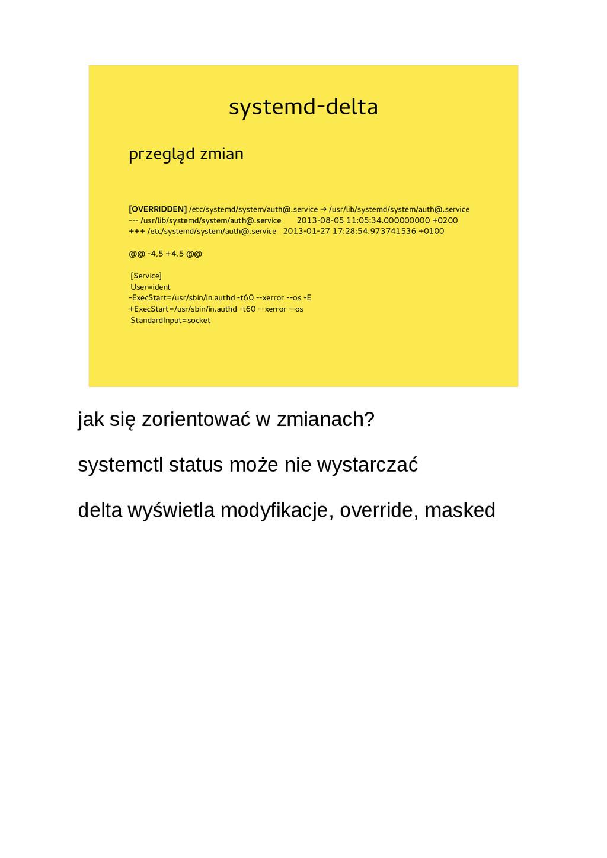 systemd-delta przegląd zmian [OVERRIDDEN] /etc/...