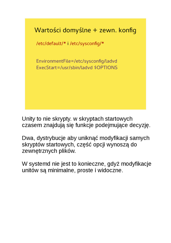Wartości domyślne + zewn. konfg /etc/default/* ...