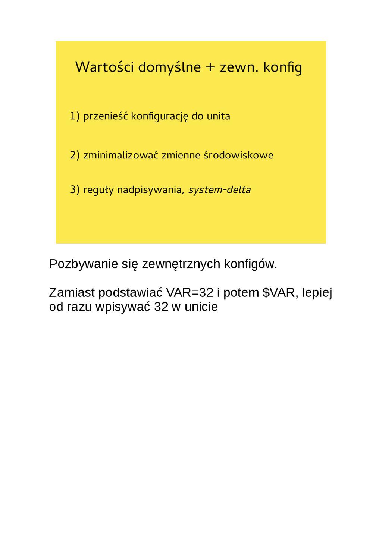Wartości domyślne + zewn. konfg 1) przenieść ko...