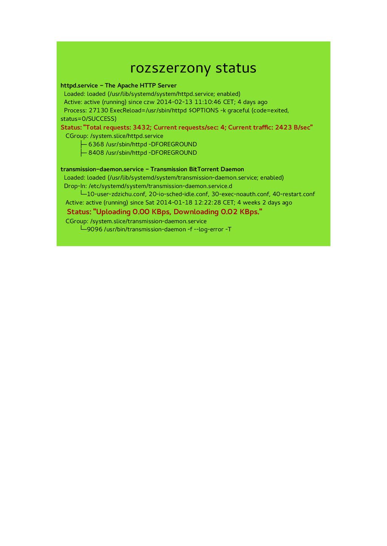 rozszerzony status httpd.service - The Apache H...