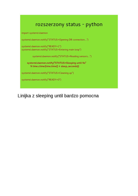 rozszerzony status - python import systemd.daem...