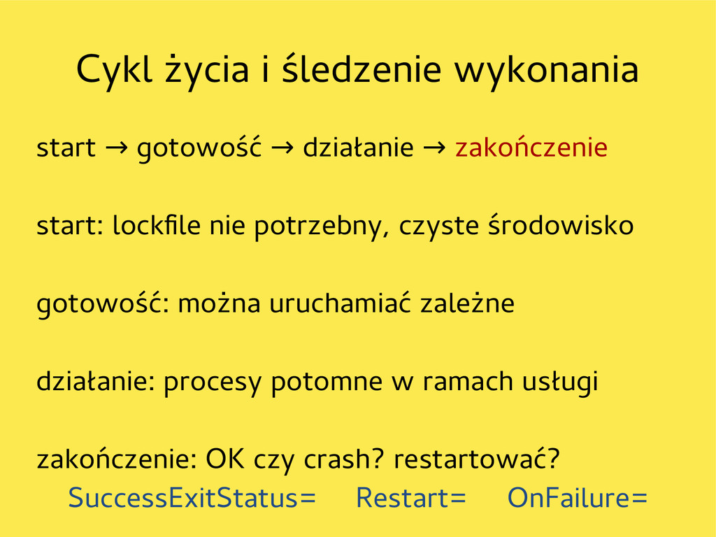 Cykl życia i śledzenie wykonania start → gotowo...