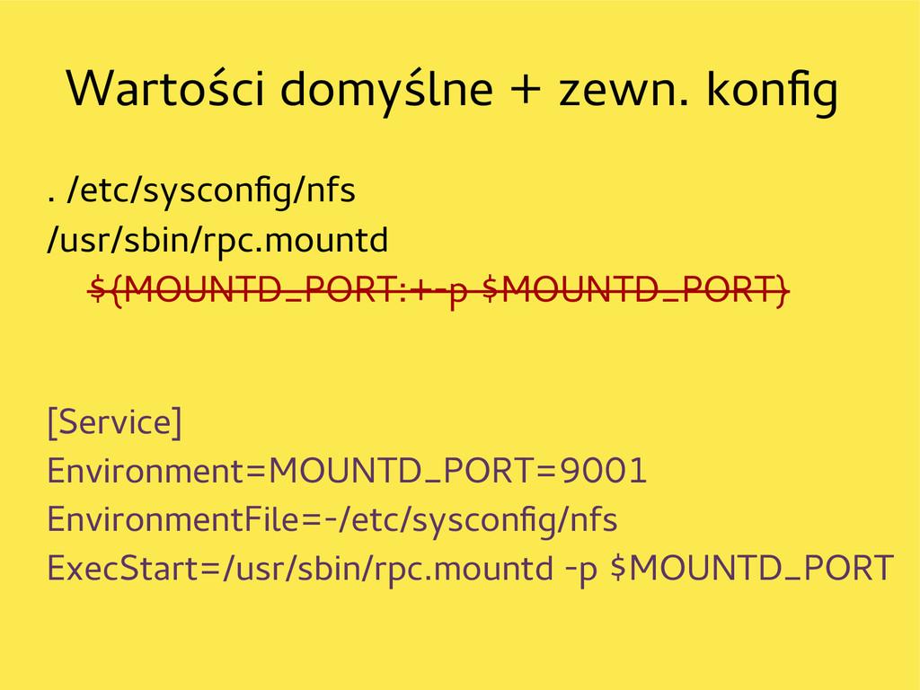 Wartości domyślne + zewn. konfg . /etc/sysconfg...