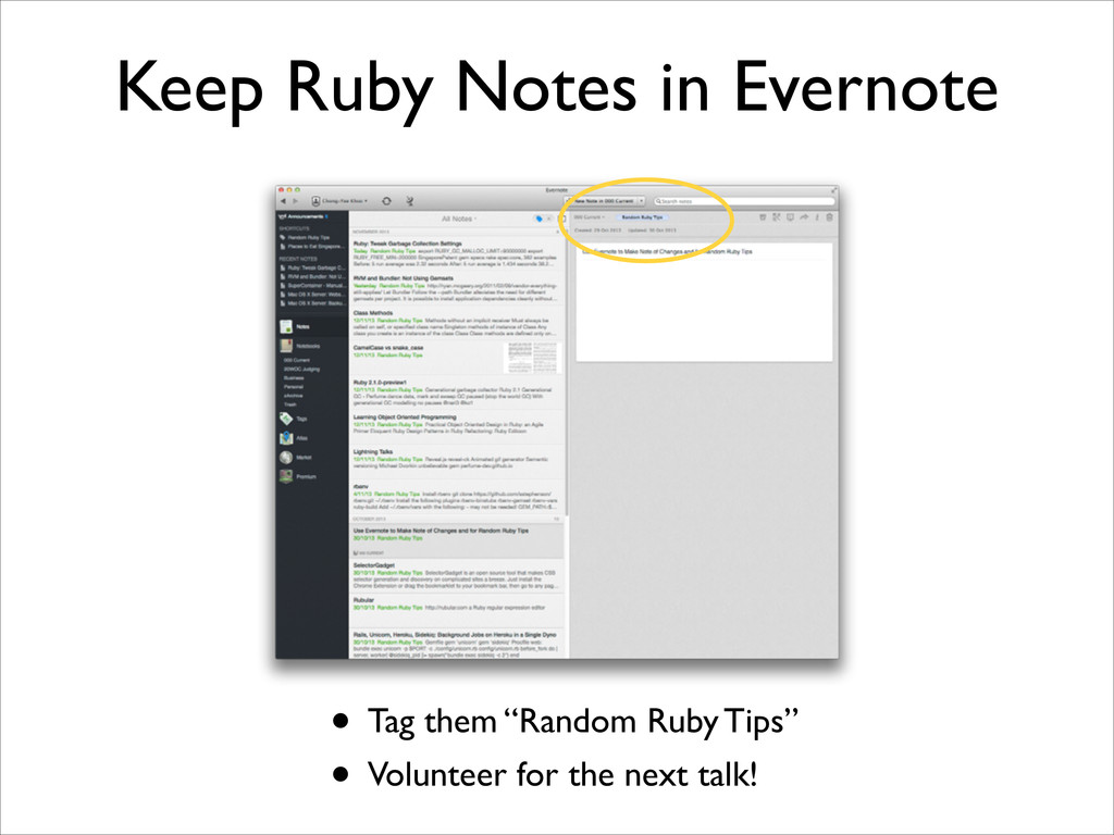 """Keep Ruby Notes in Evernote • Tag them """"Random ..."""