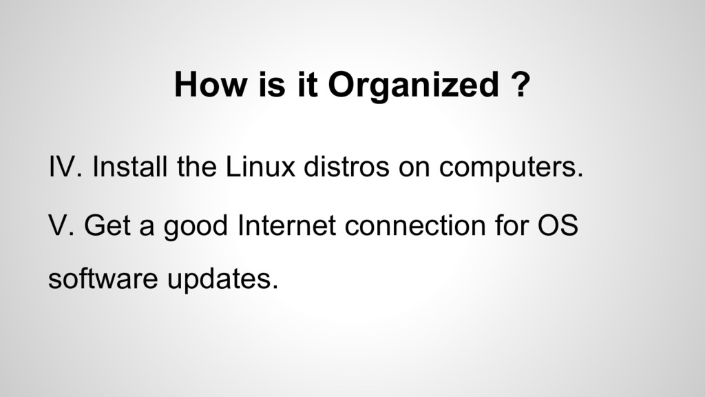 How is it Organized ? IV. Install the Linux dis...
