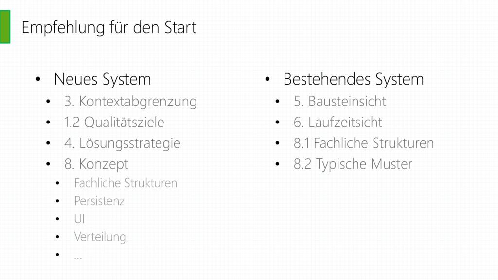 Empfehlung für den Start • Neues System • 3. Ko...