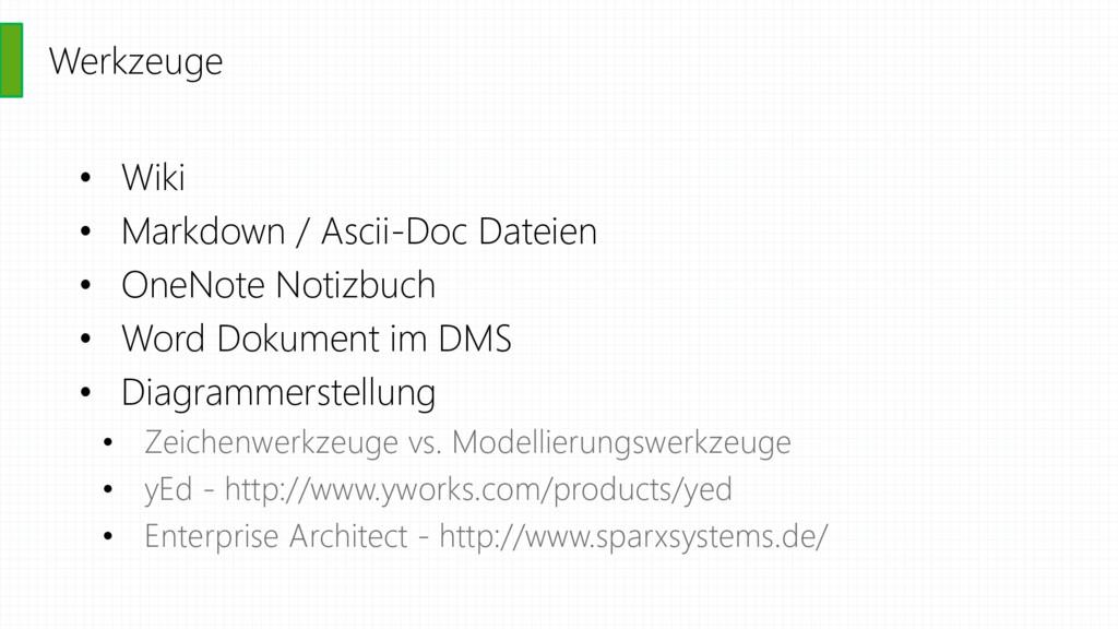 Werkzeuge • Wiki • Markdown / Ascii-Doc Dateien...