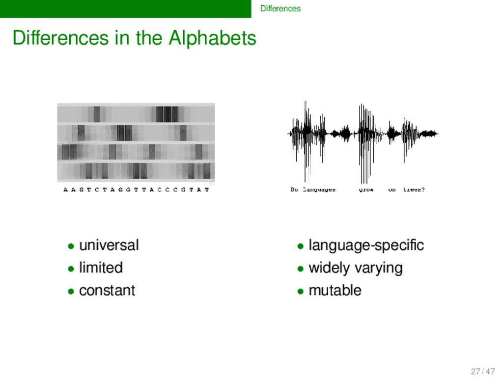 Differences Differences in the Alphabets • univer...