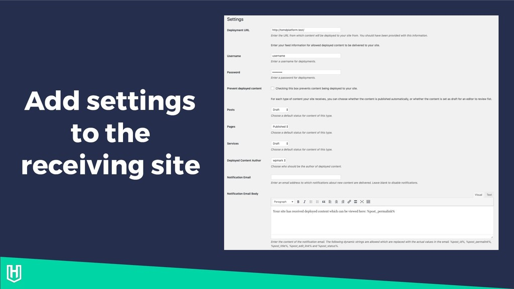 Add settings to the receiving site