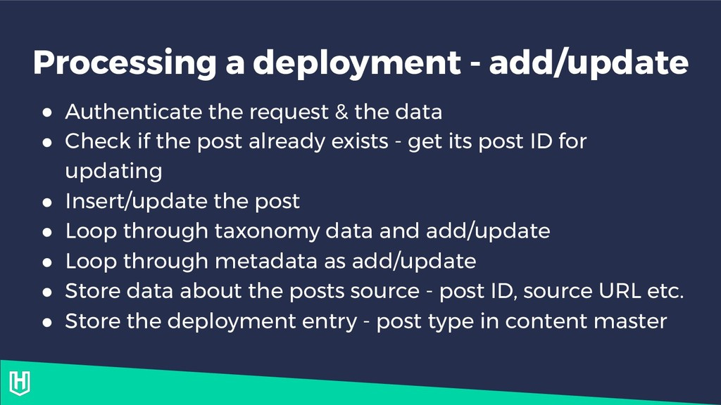 Processing a deployment - add/update ● Authenti...