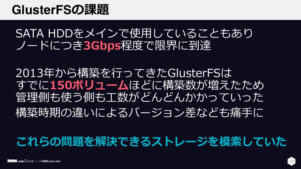 GlusterFSの課題 SATA HDDをメインで使⽤していることもあり ノードにつき3Gb...