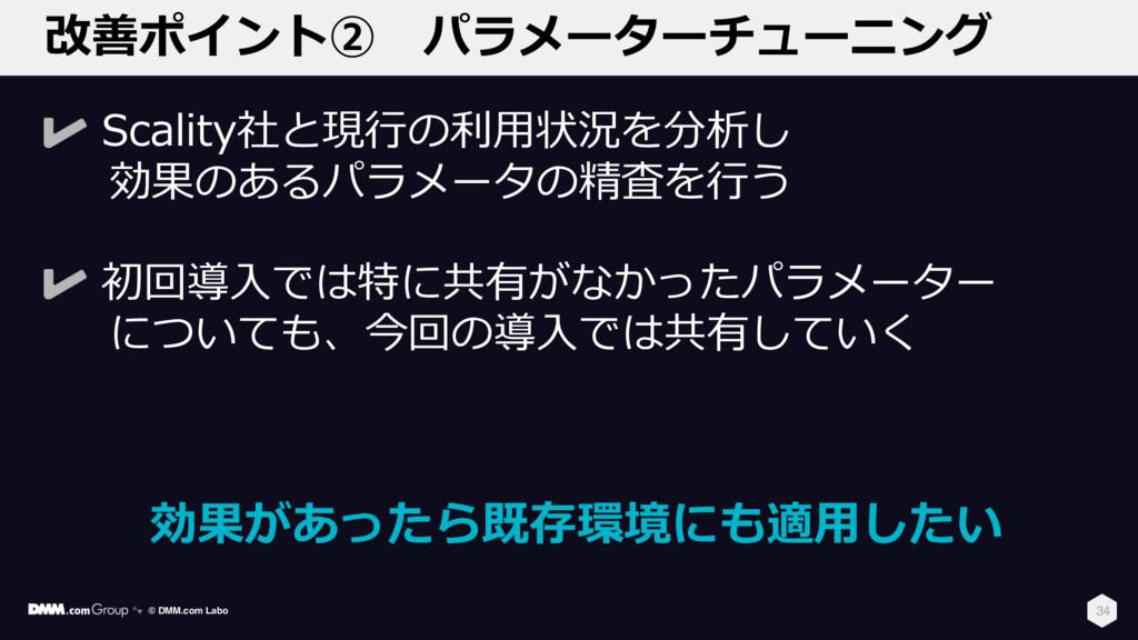 改善ポイント② パラメーターチューニング 34 Scality社と現⾏の利⽤状況を分析し 効果...