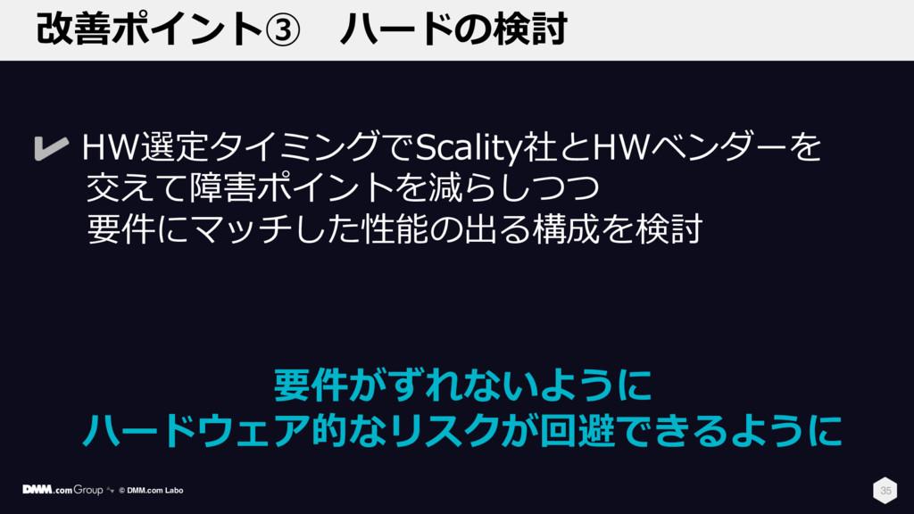 改善ポイント③ ハードの検討 35 HW選定タイミングでScality社とHWベンダーを 交え...