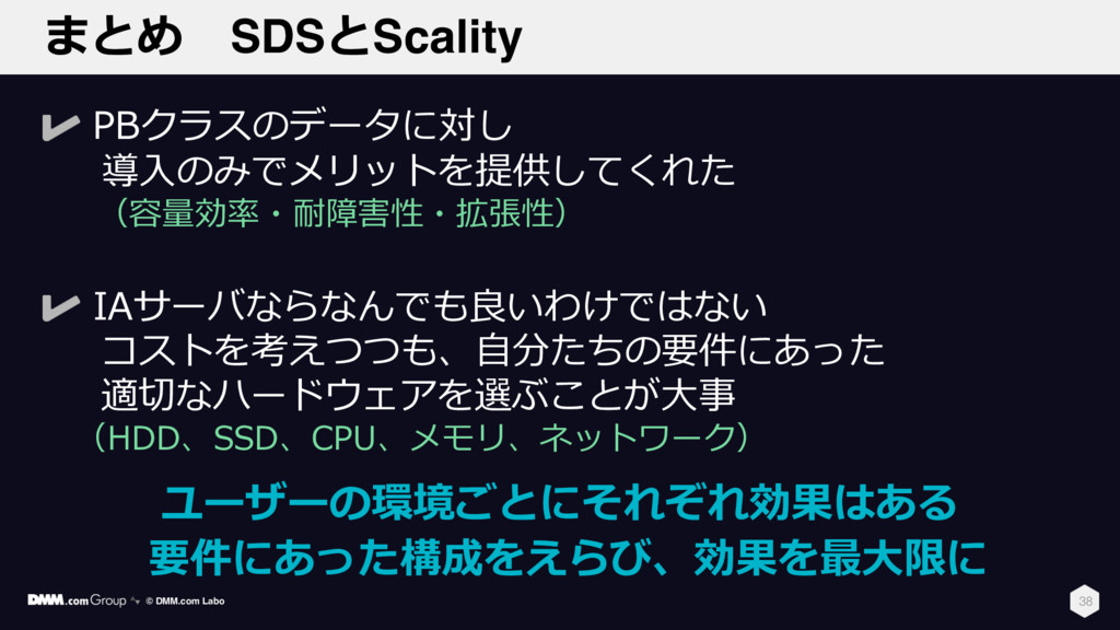 まとめ SDSとScality 38 PBクラスのデータに対し 導⼊のみでメリットを提供してく...