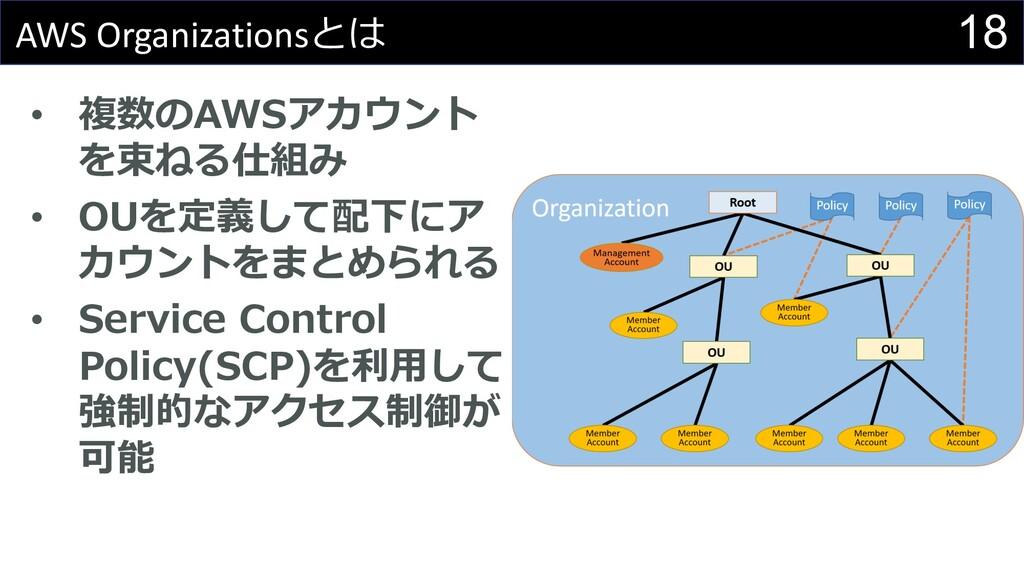 18 AWS Organizationsとは • 複数のAWSアカウント を束ねる仕組み • ...