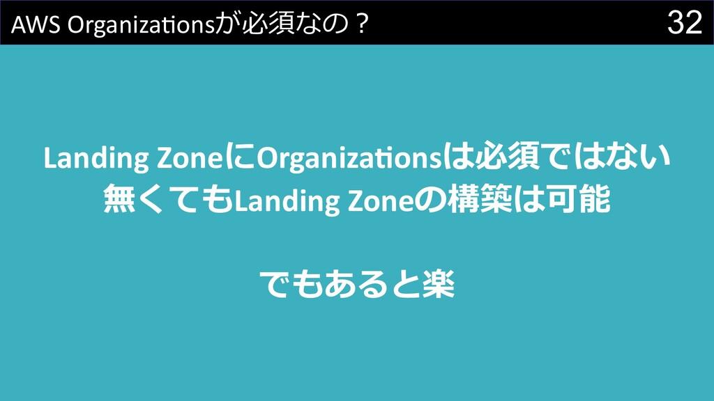 32 AWS Organiza@onsが必須なの︖ Landing ZoneにOrganiza...