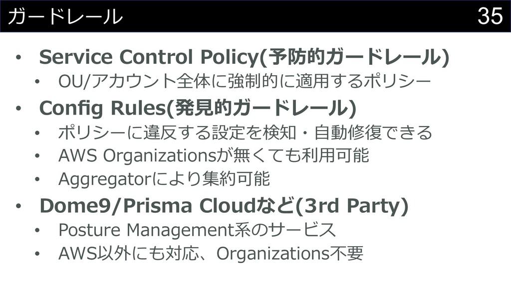 35 ガードレール • Service Control Policy(予防的ガードレール) •...