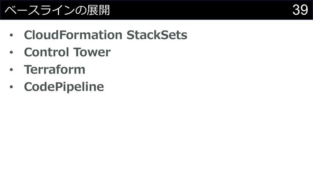 39 ベースラインの展開 • CloudFormation StackSets • Contr...