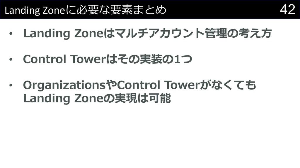 42 Landing Zoneに必要な要素まとめ • Landing Zoneはマルチアカウン...