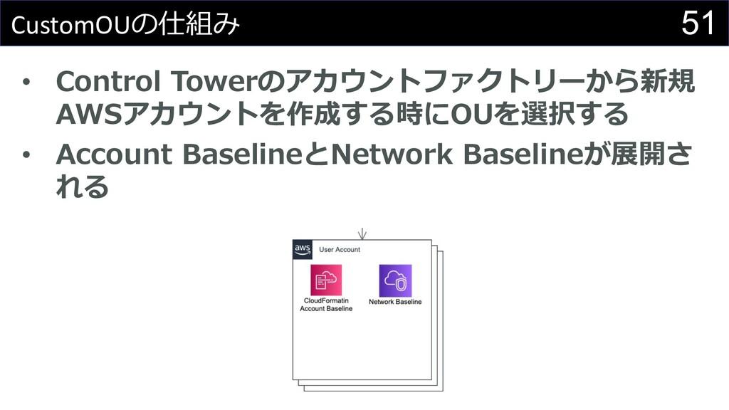51 CustomOUの仕組み • Control Towerのアカウントファクトリーから新規...