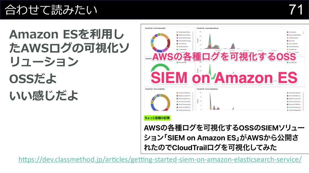71 合わせて読みたい Amazon ESを利⽤し たAWSログの可視化ソ リューション OS...