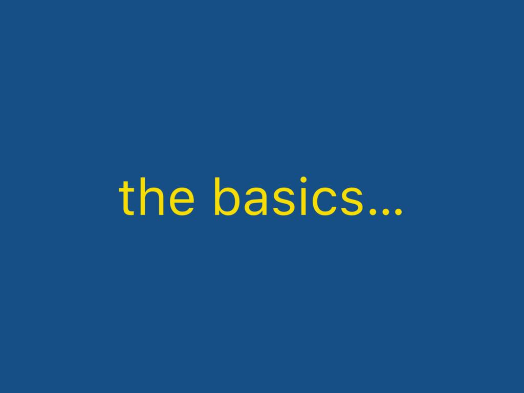 the basics…