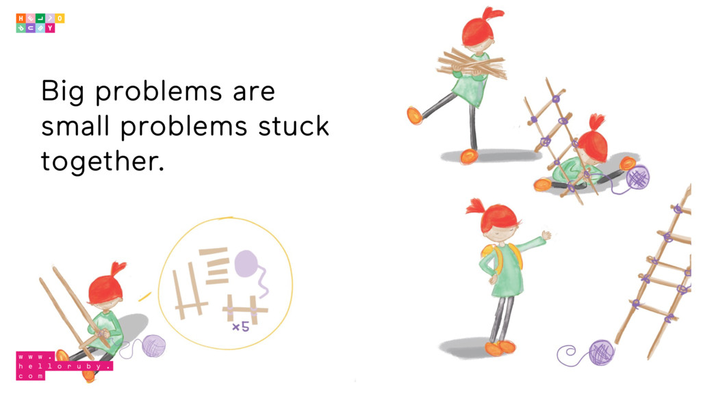 Big problems are small problems stuck together.